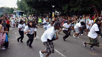 Notting Hill carnival rain dance