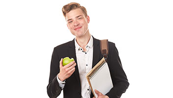 Man eating an apple for 'fun'
